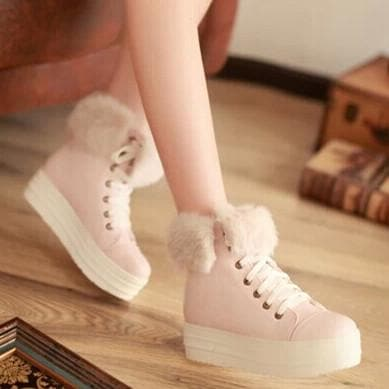 White/Pink/Beige Pastel Winter Fleece Boots SP1710986