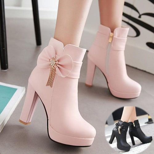 White/Pink/Black Pastel Bow High Heel Boots SP1710861