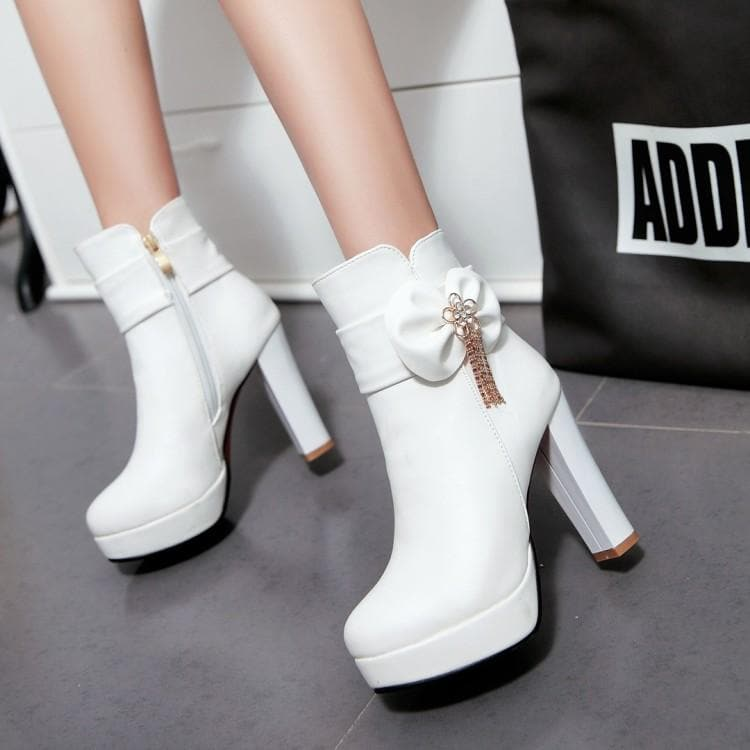 White Pink Black Pastel Bow High Heel Boots Sp1710861