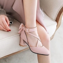 Load image into Gallery viewer, White/Pink/Black Sweet Lolita Bow High Heel Shoes SP14287