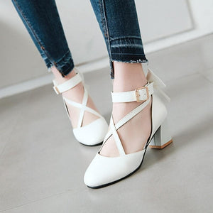 White/Pink/Black Sweet Lolita Bow High Heel Shoes SP14287