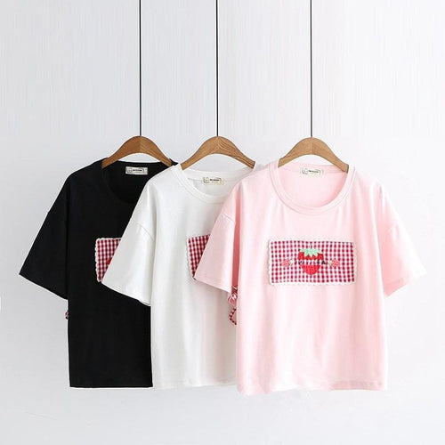 White/Pink/Black Sweet Strawberry Laced Tee Shirt SP13956