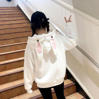 White/Pink/Blue Kawaii Bunny Ears Hoodie Jumper S12939