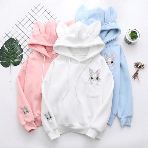 White/Pink/Blue Kawaii Bunny Ears Hoodies Jumper SP1711261
