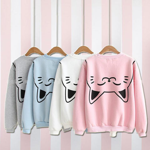 White/Pink/Grey/Blue Pastel Kitty Preppy Style Jumper SP1710916