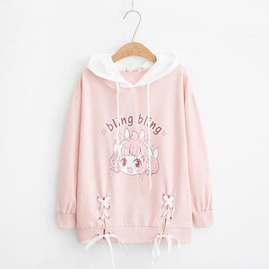 White/Pink Bling Bling Girl Laced Hoodie Jumper SP13570