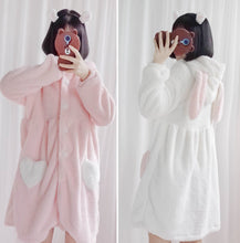 Load image into Gallery viewer, White/Pink Bunny Heart Plush Homewear Dress S13081