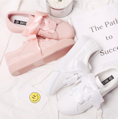 white/pink casual ribbon bow sneakers sp1710670  spreepicky