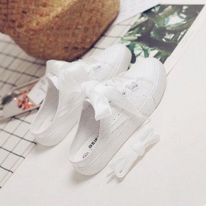 White/Pink Casual Ribbon Bow Sneakers SP1710670
