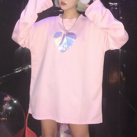 White/Pink Harajuku Hologram Laser Heart Loose T-shirt SP1710706