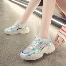 Load image into Gallery viewer, White/Pink Hologram Hallow Out Jelly Shoes SP13965