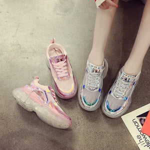 White/Pink Hologram Hallow Out Jelly Shoes SP13965