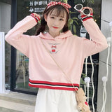 White/Pink Kawaii Bunny Ear Hoodie Jumper SP1710708