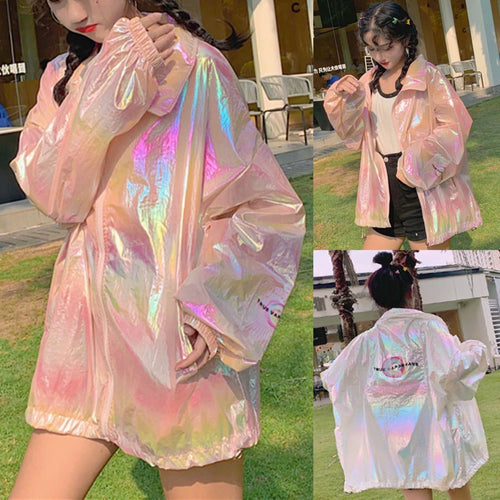 White/Pink Kawaii Harajuku Hologram Coat SP13951
