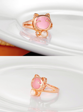 Load image into Gallery viewer, Final Stock! White/Pink Kitty Opal Necklace Ring SP1812287