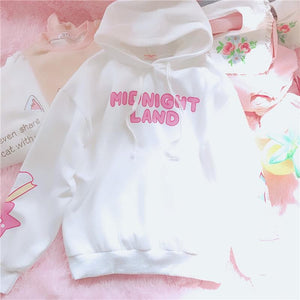 White/Pink Midnight Land Fleece Hoodie Jumper SP1711266