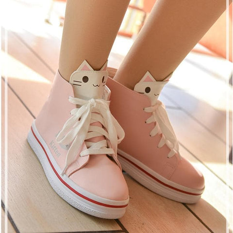 White/Pink kitty Printing Sneakers SP1711010