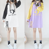 White/Purple Kawaii Star Moon Hoodie Dress S12909