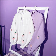 Load image into Gallery viewer, White/Purple Kawaii Strawberry Hoodie Jumper SP13608