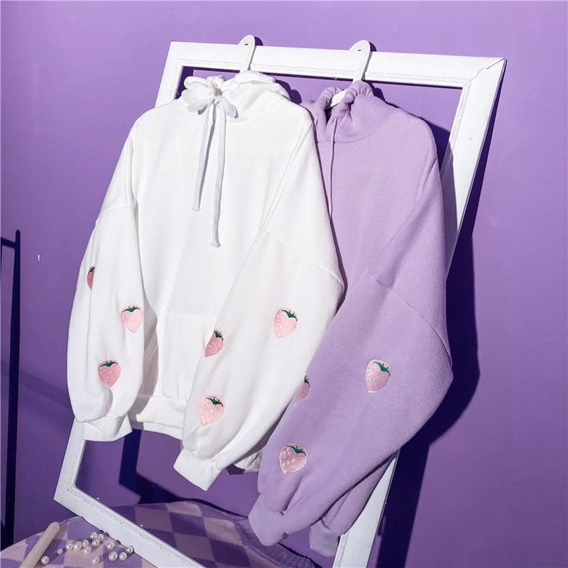 White/Purple Kawaii Strawberry Hoodie Jumper SP13608