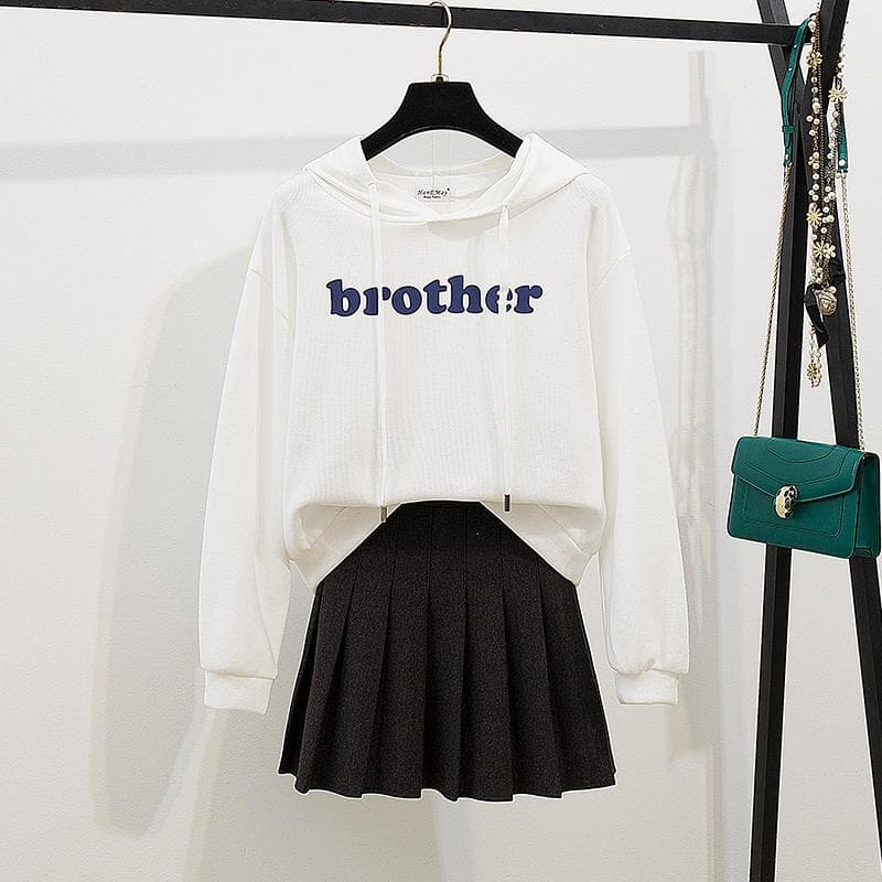 White/Purple Preppy Style Brother Hoodie Jumper/Skirt Set SP14232