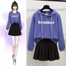 Load image into Gallery viewer, White/Purple Preppy Style Brother Hoodie Jumper/Skirt Set SP14232
