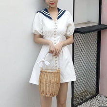 Load image into Gallery viewer, White Button Sailor Dress SP14130 - SpreePicky FreeShipping