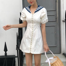Load image into Gallery viewer, White Button Sailor Dress SP14130