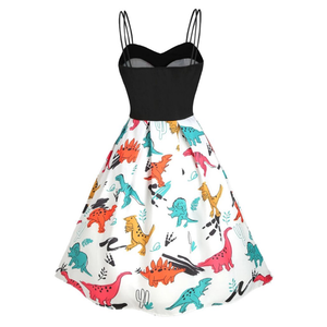 White Dinosaurs Strap Dress SP13857