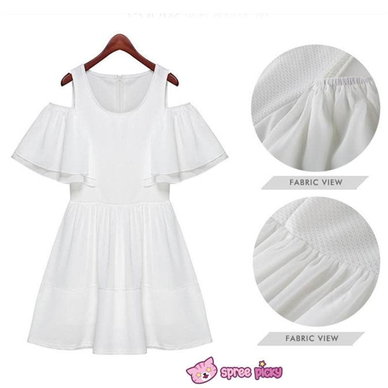[S-XL] White Elegant Chiffon Dress SP151816 - SpreePicky  - 1