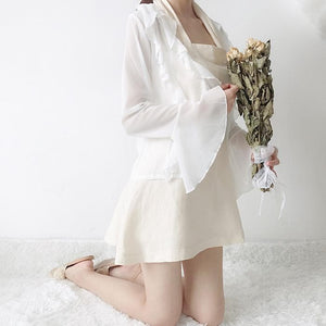 White Falbala Chiffon Coat/Grid Dress SP13599