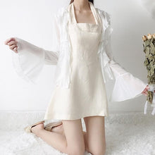 Load image into Gallery viewer, White Falbala Chiffon Coat/Grid Dress SP13599