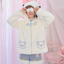 Load image into Gallery viewer, White Kawaii Bear Plush Hoodie Coat SP13230