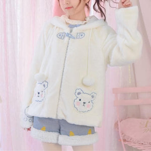 White Kawaii Bear Plush Hoodie Coat SP13230