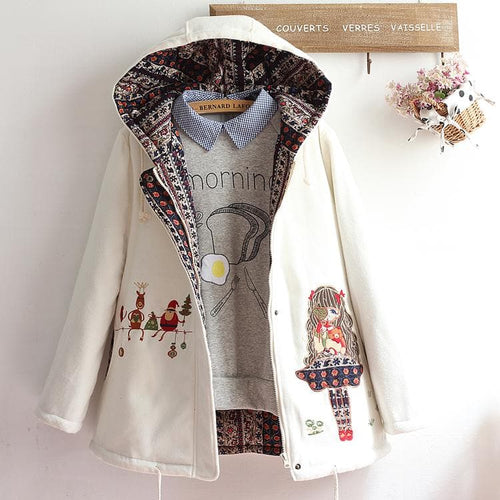 White Kawaii Christmas Girl Hoodie Coat S12811