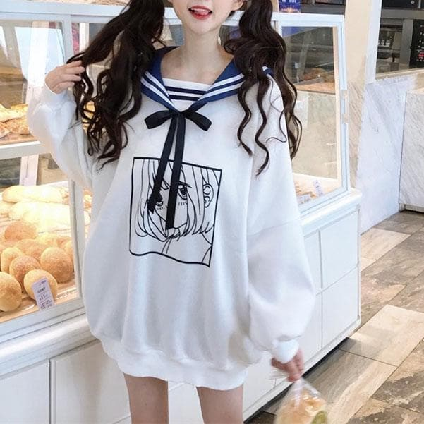 White Kawaii Sailor Collar Anime Print Long Sweater SP13451