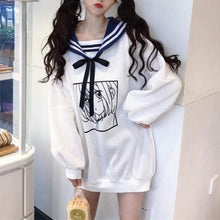 Load image into Gallery viewer, White Kawaii Sailor Collar Anime Print Long Sweater SP13451