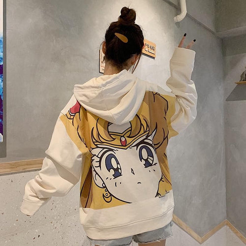White Kawaii Sailor Usage Hoodie Jumper SP14334
