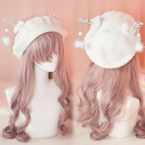 White Lolita Antler Ball Beret SP1711452