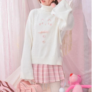 White Loose Cat Paw Overneck Sweatshirt SP1711224