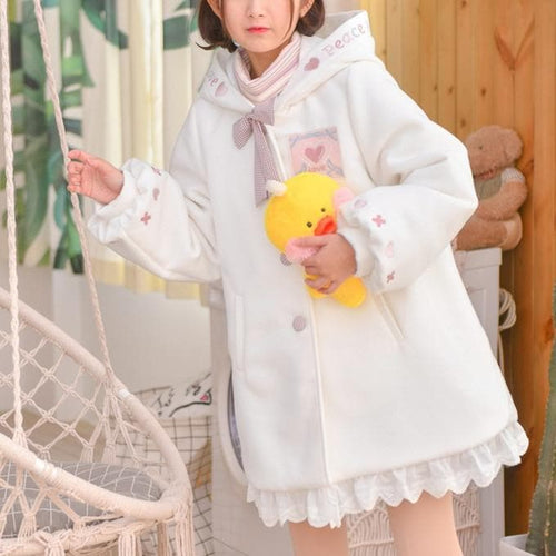 White Sweet Love Woolen Hoodie Coat S13134