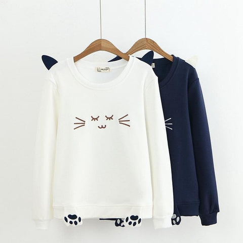 White/Navy Kawai Sleeping Kitty Sweatshirt SP1711008