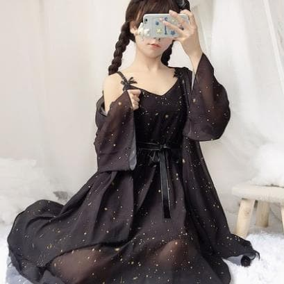 Wine/Black/White Sweet Galaxy Chiffon Dress/Cardigan SP13560