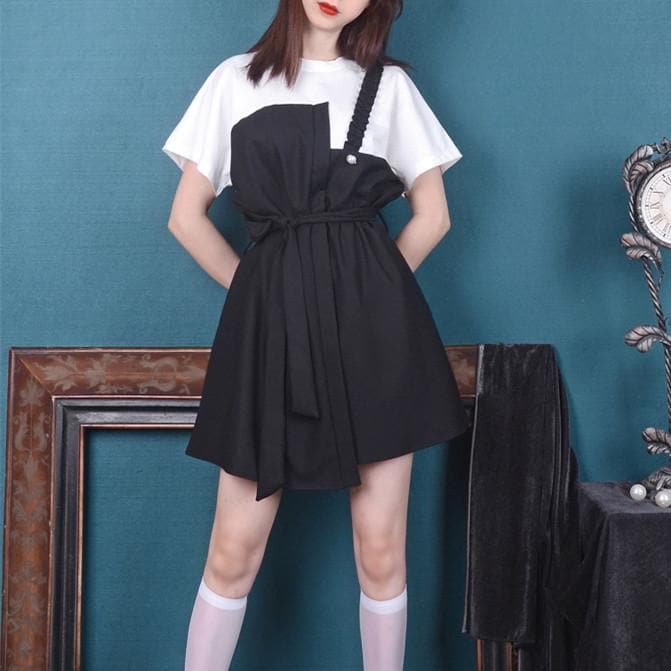 Wine/Black Retro Folded Shoulder Dress SP14124