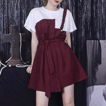 Load image into Gallery viewer, Wine/Black Retro Folded Shoulder Dress SP14124
