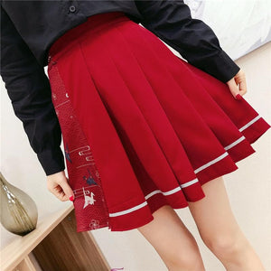 Wine/Navy Kawaii Paper Crane Pleated Skirt SP13745