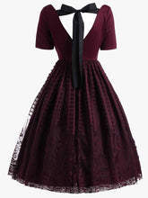 Load image into Gallery viewer, Wine Red Back Lace Up Dress SP13920
