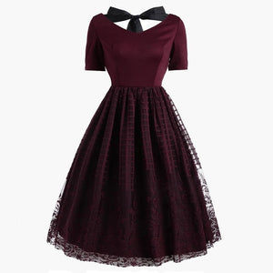 Wine Red Back Lace Up Dress SP13920