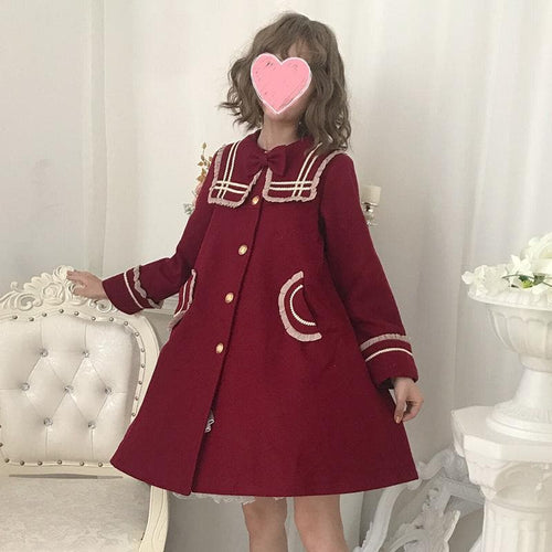 Wine Sailor Lolita Bow Woolen Coat SP14276