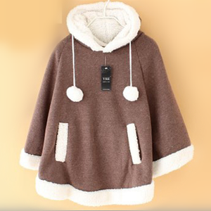 [11 Colors] Winter Candy Fleece Cloak Coat Hoodie Cape SP141334